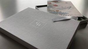 Bespoke designed branded gift box for Gonville Hotel