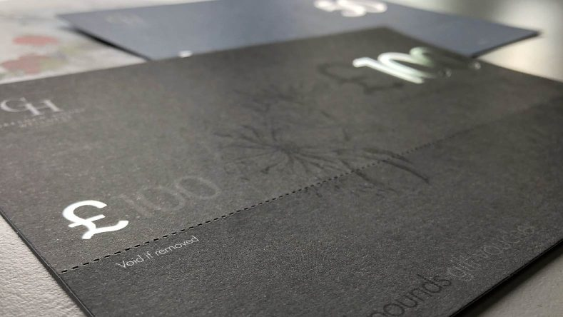 Gift vouchers for Gonville hotel designed by BAAM